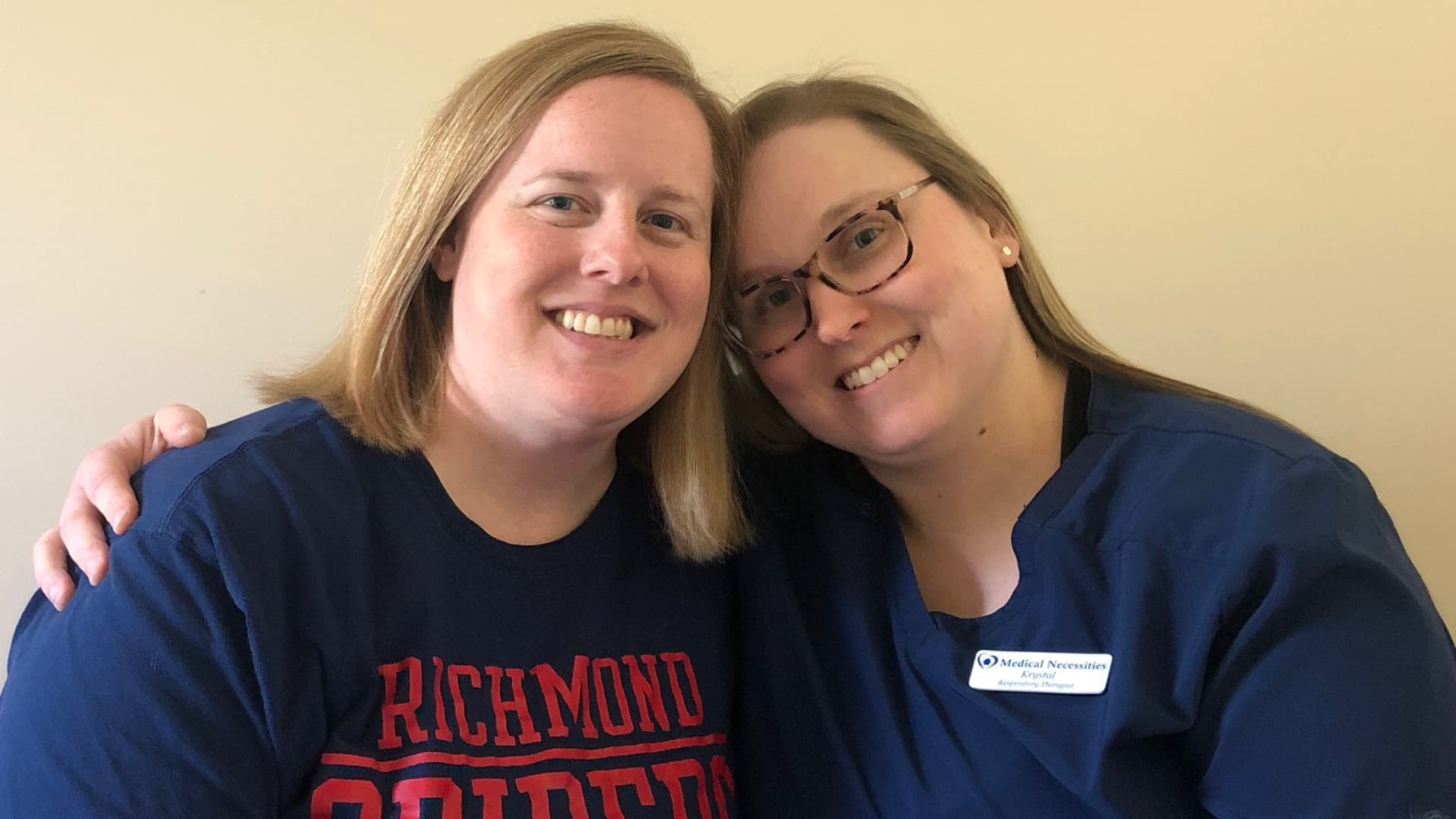 Sarah has been working from home for about a month and this week helped her wife, Krystal, a health-care professional, set up an office from their guest bedroom.