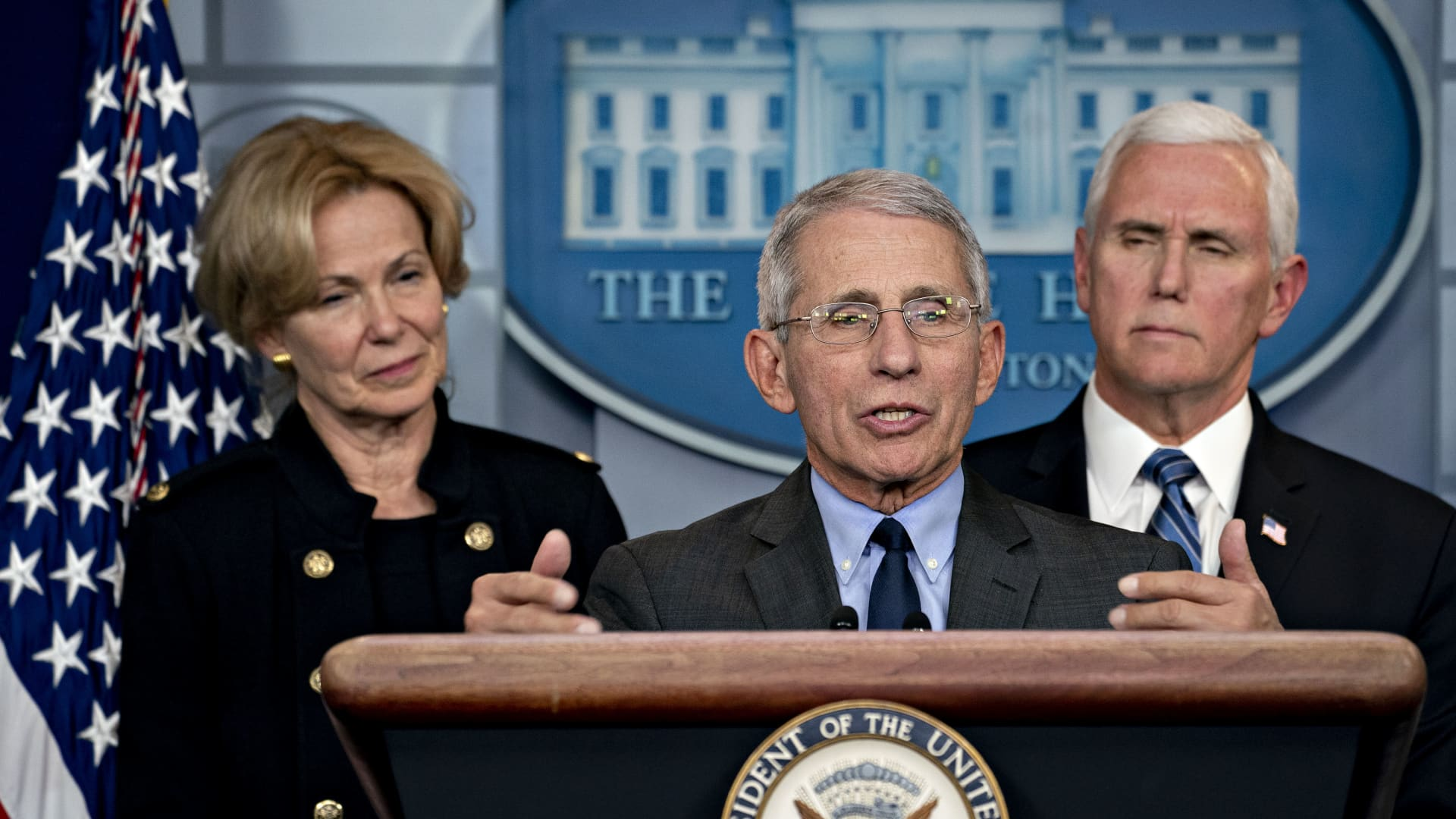 Anthony Fauci, director of the National Institute of Allergy and Infectious Diseases, center, speaks as U.S. Vice President Mike Pence, right, and Deborah Birx, coronavirus response coordinator, listen during a news conference in the briefing room of the White House in Washington, D.C., U.S., on Monday, March 2, 2020.