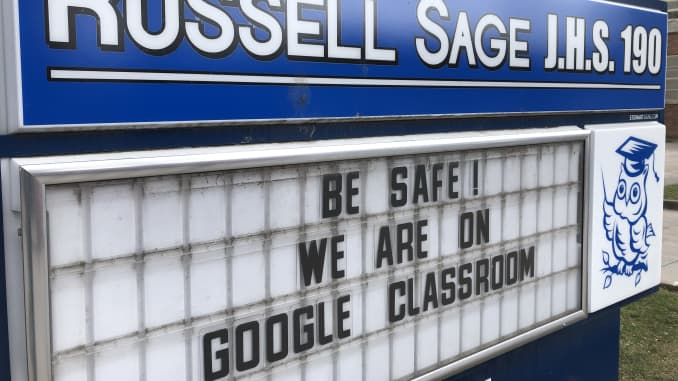 GP: Coronavirus New York City schools closed Russell Sage Junior High School closed, Google Classroom sign