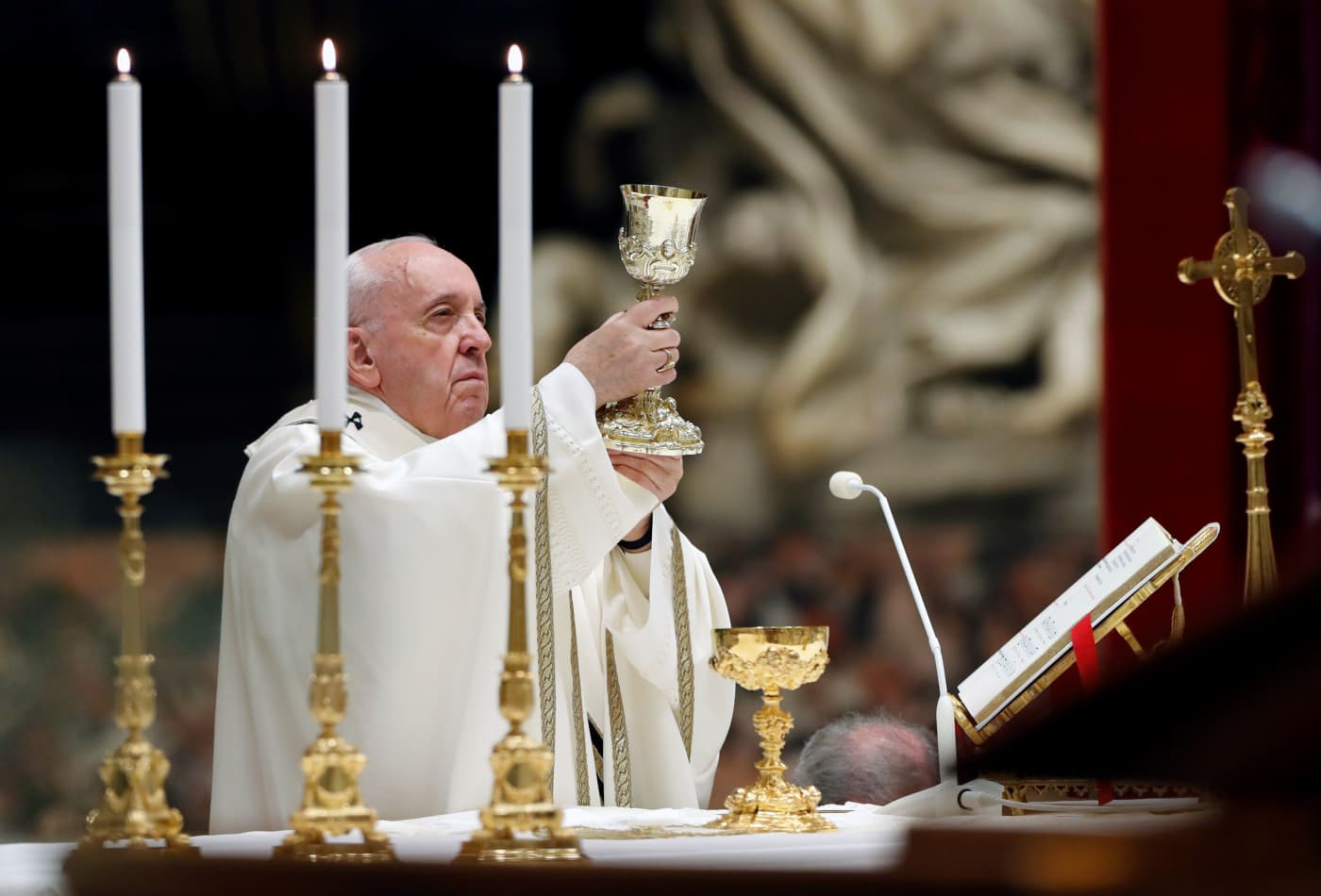 Pope Francis leads the Easter vigil Mass in St. Peter's Basilica with no public participation due to the outbreak of coronavirus at the Vatican