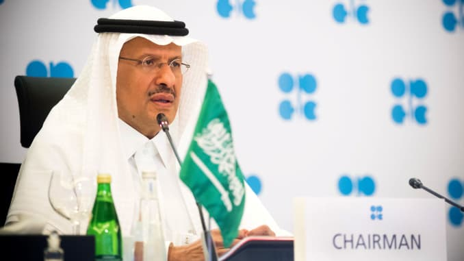 Saudi Arabia's Minister of Energy Prince Abdulaziz bin Salman Al-Saud speaks via video link during a virtual emergency meeting of OPEC and non-OPEC countries, following the outbreak of the coronavirus disease (COVID-19), in Riyadh, Saudi Arabia April 9, 2