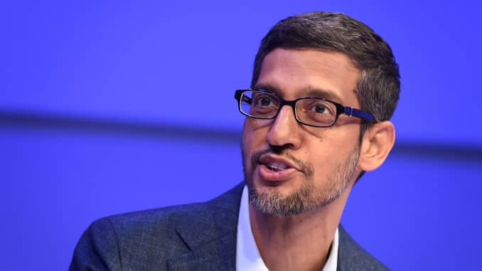 Alphabet CEO Sundar Pichai speaks during a session at the World Economic Forum (WEF) annual meeting in Davos, on January 22, 2020.