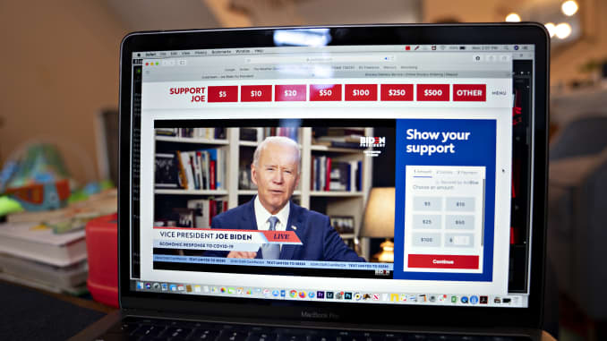 Former Vice President Joe Biden, presumptive Democratic presidential nominee, speaks during a virtual event seen on an Apple Inc. laptop computer in Arlington, Virginia, U.S., on Monday, April 13, 2020.