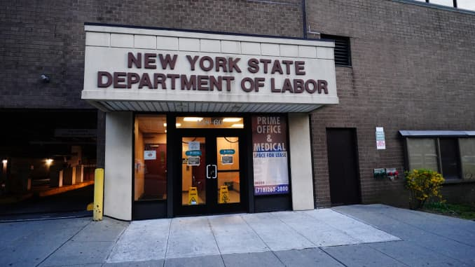 A view of new York State Department of labor office in Flushing Queens during coronavirus pandemic on April 12, 2020. (Photo by John Nacion/NurPhoto via Getty Images)