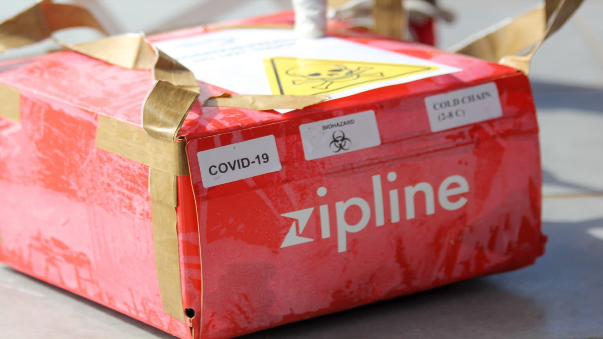 A Covid-19 test sample delivered by Zipline