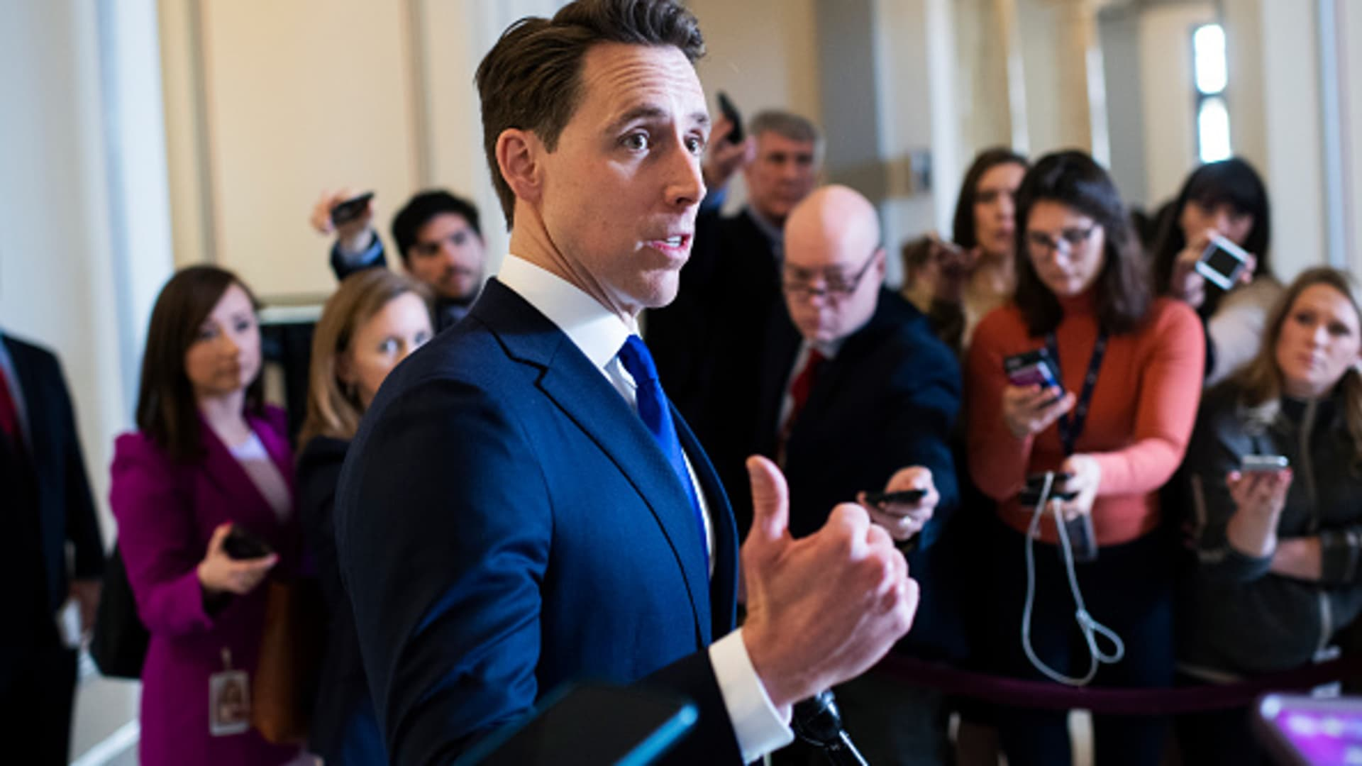 Sen. Josh Hawley, R-Mo., talks with reporters after the Senate Republican Policy luncheon in Russell Building on Tuesday, March 17, 2020.