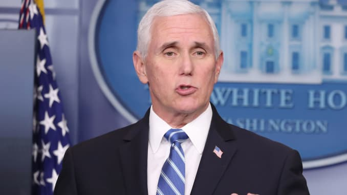 Vice President Mike Pence speaks during a news conference in the White House in Washington, D.C., U.S., on Thursday, April 23, 2020.
