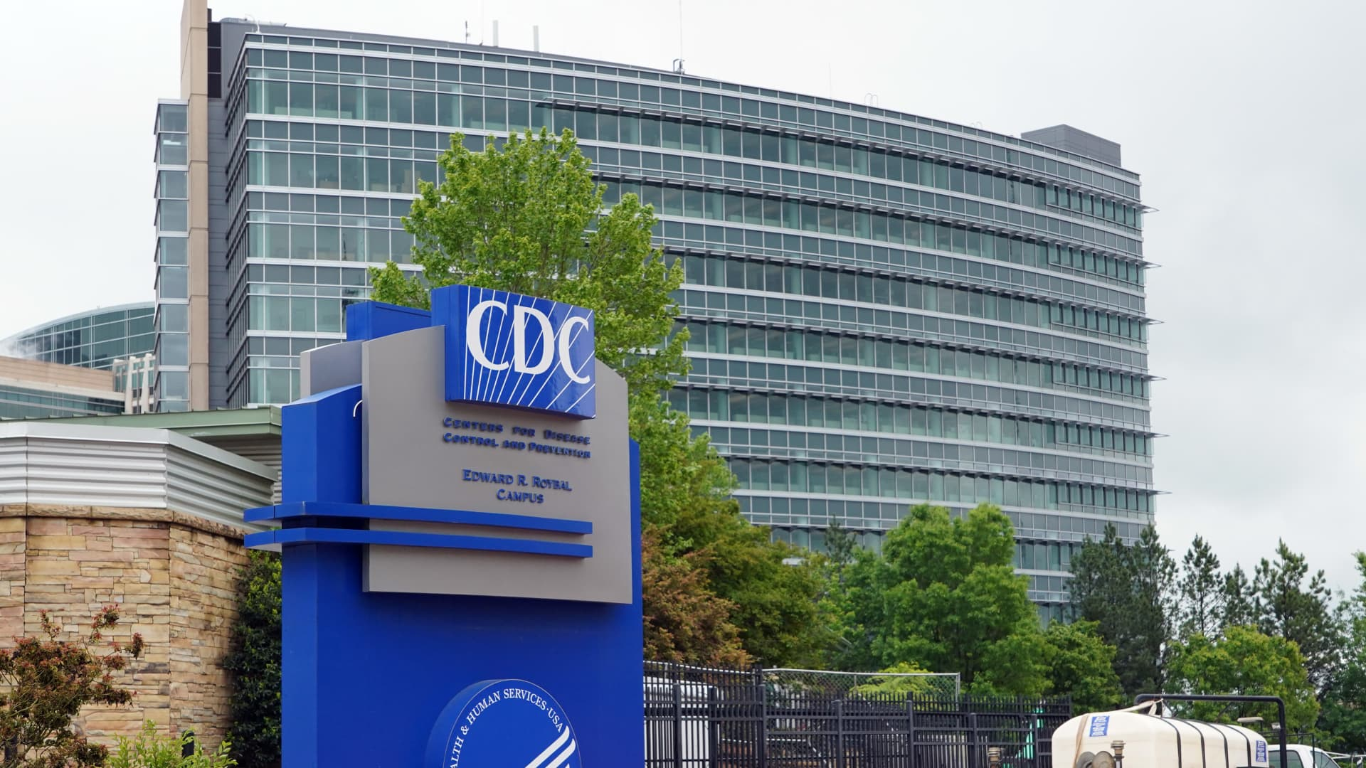 A general view of the Centers for Disease Control and Prevention Edward R. Roybal campus in Atlanta, Georgia on April 23, 2020.