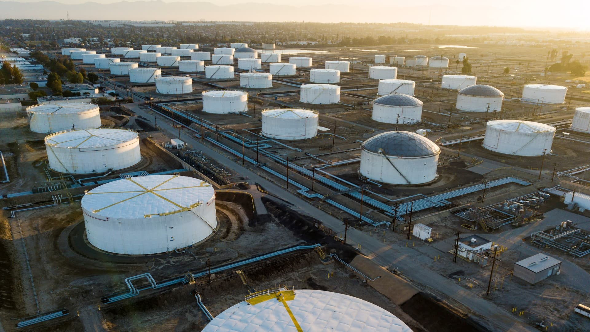 Oil-storage tanks are seen from above in Carson, California, April 25, 2020 after the price for crude plunged into negative territory for the first time in history on April 20.