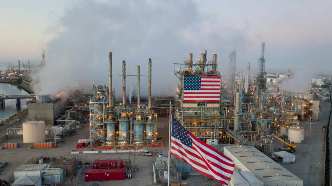 A view of the Marathon Petroleum Corp's Los Angeles Refinery in Carson, California, April 25, 2020.