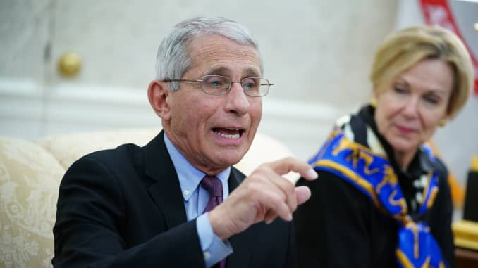 Dr. Anthony Fauci (L), director of the National Institute of Allergy and Infectious Diseases speaks next to Response coordinator for White House Coronavirus Task Force Deborah Birx, during a meeting with US President Donald Trump and Louisiana Governor Jo
