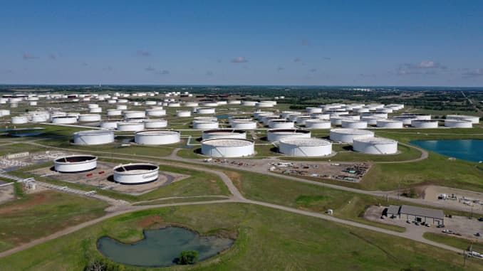 An aerial drone view of a crude oil storage facility on April 23, 2020 in Cushing, Oklahoma.