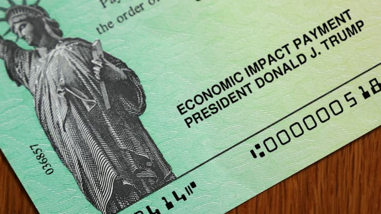 U.S. President Donald Trump's name appears on the coronavirus economic assistance checks that were sent to citizens across the country April 29, 2020 in Washington, DC.