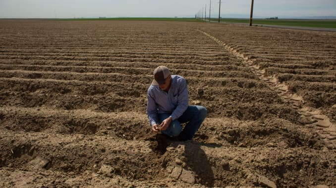 A recently planted potato field at Friehe Farms in Moses Lake, Washington, U.S., on Thursday, Apr. 30, 2020.
