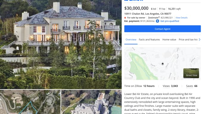 Musk's $30 million home as it appears on Zillow.