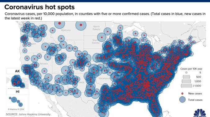 Bản đồ các nước nhiễm Coronavirus trên toàn cầu