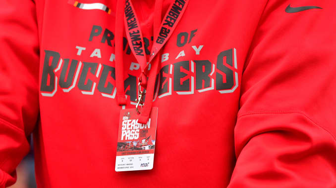 Season ticket holders display their badge during a football game between the Tampa Bay Buccaneers and the New Orleans Saints at Raymond James Stadium on November 17, 2019 in Tampa, Florida.