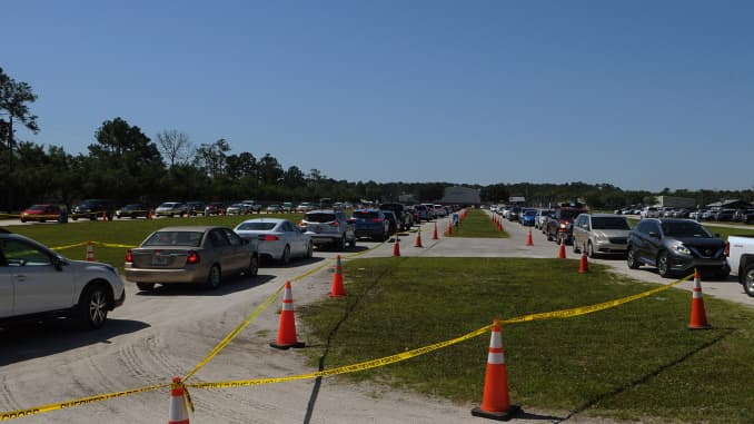 Hundreds of people in cars arrive on the first day of a free COVID-19 antibody testing event at a site in Florida. Americans with disabilities, including blindness, are struggling to access testing and other health-care services during the coronavirus crisis.