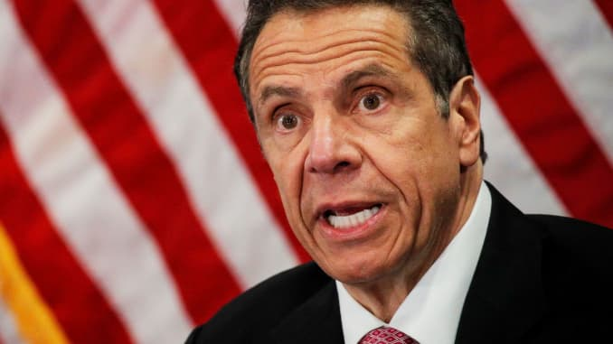 New York Governor Andrew Cuomo speaks at a daily briefing at North Shore University Hospital, during the outbreak of the coronavirus disease (COVID-19), in Manhasset, New York, May 6, 2020.
