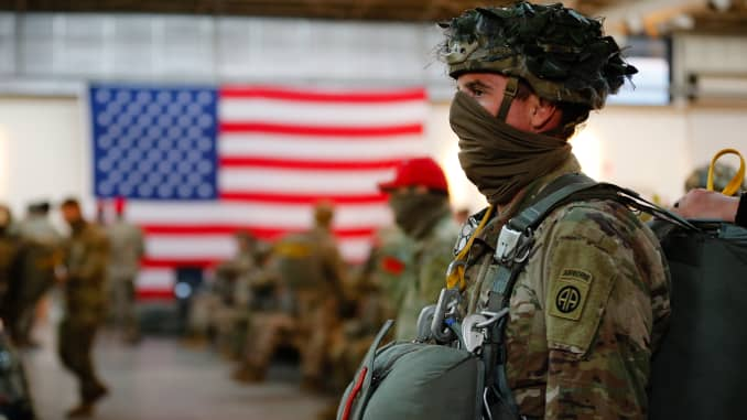 A Paratrooper assigned to the 1st Brigade Combat Team, 82nd Airborne Division, prepares for a Airborne Operation at Fort Bragg, N.C., on May 7.