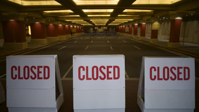 "Barriers stating ""CLOSED"" are arranged outside Tropicana Casino during the coronavirus pandemic on May 7, 2020 in Atlantic City, New Jersey."