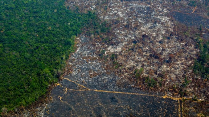 Aerial view of deforestation in Nascentes da Serra do Cachimbo Biological Reserve in Altamira, Para state, Brazil, in the Amazon basin, on August 28, 2019.