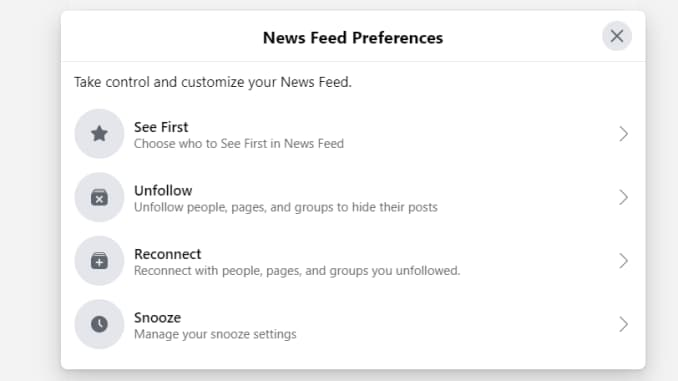 The new Facebook News Feed Preferences settings box.