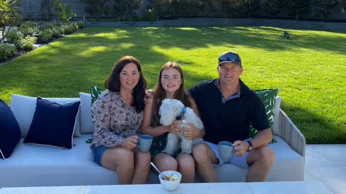 PagerDuty CEO Jennifer Tejada with her daughter, husband and dog