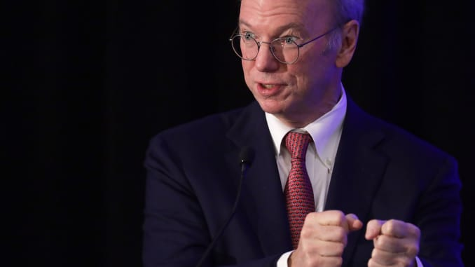 Eric Schmidt speaks during a National Security Commission on Artificial Intelligence conference November 5, 2019, in Washington