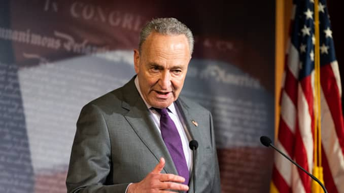 U.S. Senator, Chuck Schumer, D-New York, speaking at a press conference May 5, 2020.