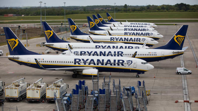 Passenger aircraft, operated by Ryanair Holdings Plc, stand on the tarmac at London Stansted Airport in Stansted, U.K., on Friday, May 1, 2020.