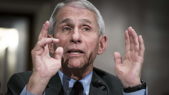 Anthony Fauci, director of the NIH National Institute of Allergy and Infectious Diseases, testifies before the Senate Health, Education, Labor and Pensions Committee during a hearing