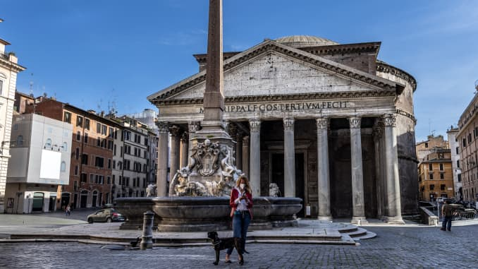 A general view of almost desert Pantheon square during Italy's lockdown due to Covid-19 pandemic.