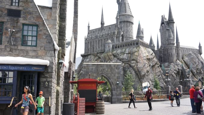 "Hogwarts is seen in ""Wizarding World of Harry Potter"" theme park at Universal Studios Hollywood, in Los Angeles, USA on April 6, 2016."