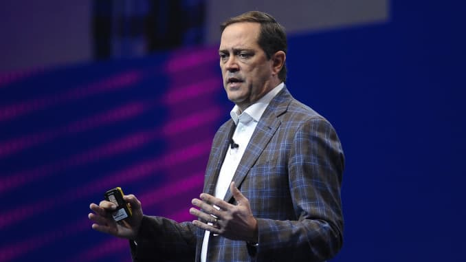 Cisco CEO Chuck Robbins holds a conference at the Mobile World Congress in Barcelona, Spain, on February 27, 2019.
