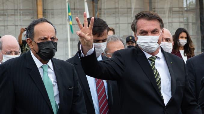 BRASÍLIA, BRASIL - 07 de maio: Jair Bolsonaro Presidente do Brasil volta ao Palácio do Planalto.