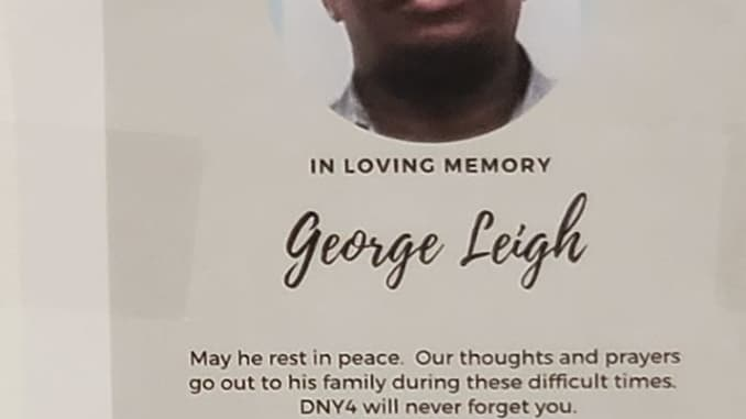 A flyer sent around George Leigh's facility, DNY4, encouraged employees to attend a memorial service in honor of his passing.