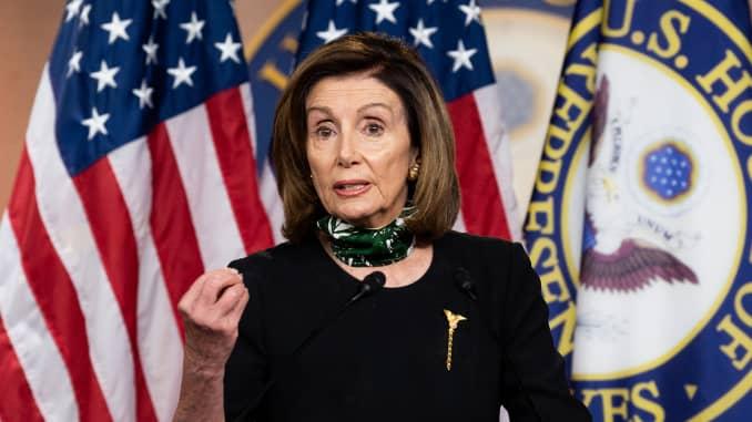 U.S. Representative Nancy Pelosi (D-CA) speaks at her weekly press conference.