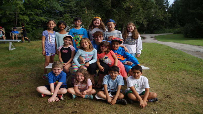 Helene Drobenare, surrounded by campers at Young Judaea Sprout Camp in 2019