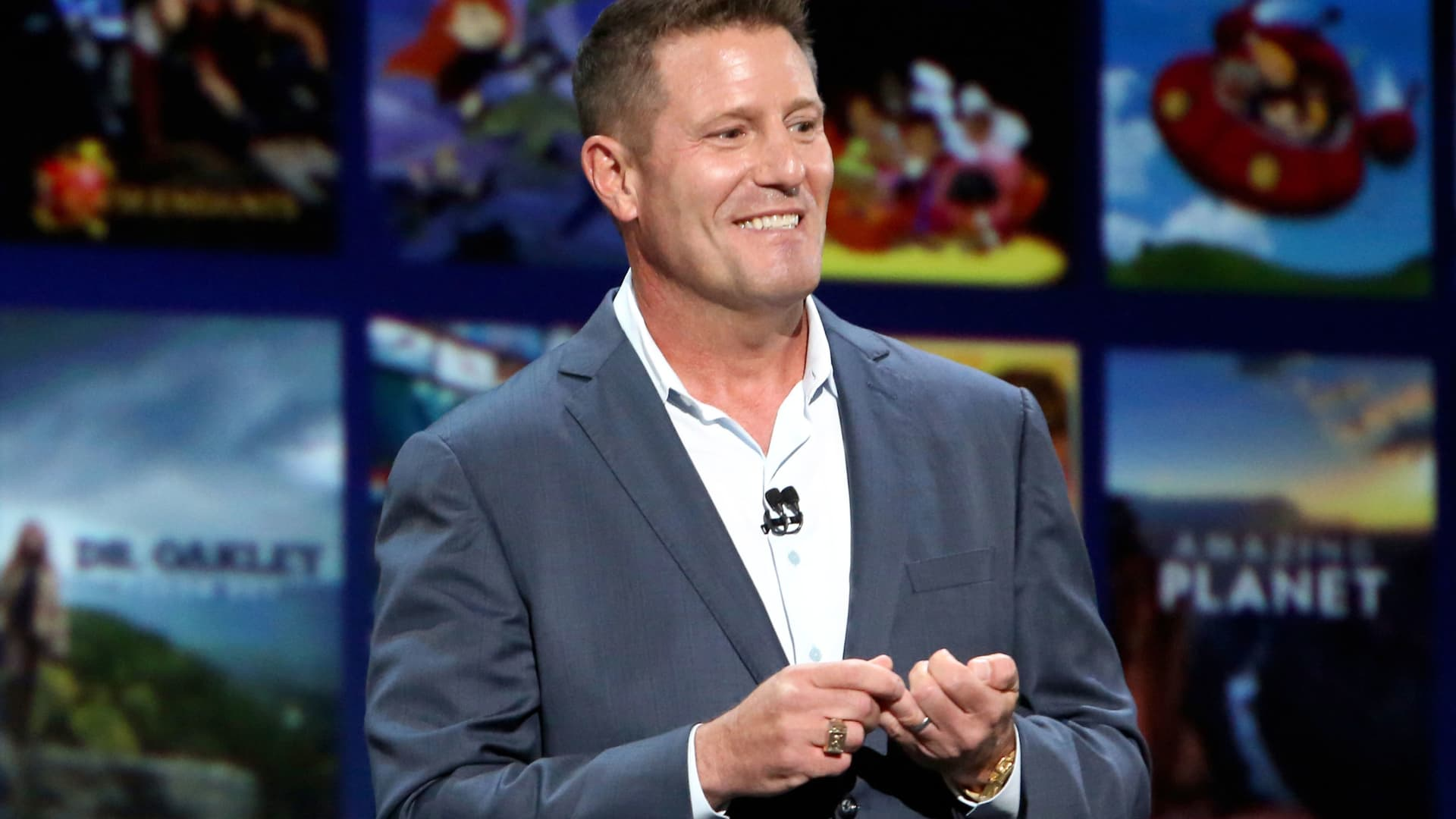 Chairman of Direct-to-Consumer & International division of The Walt Disney Company Kevin Mayer took part today in the Disney+ Showcase at Disney's D23 EXPO 2019 in Anaheim, Calif., August 23, 2019.