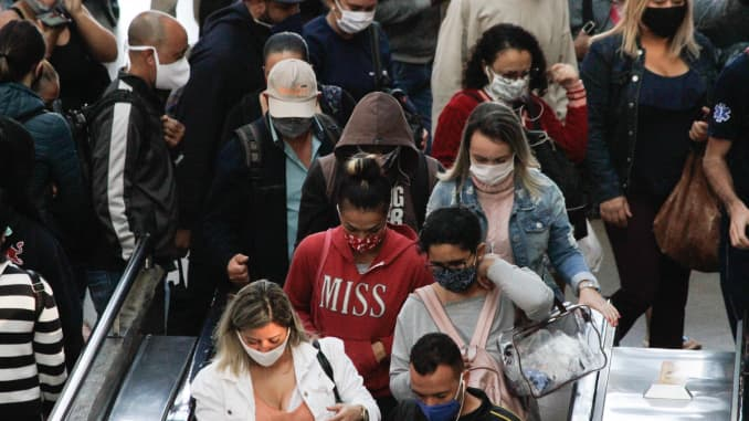 People at a public transport, in Sao Paulo, Brazil, on May 19, 2020 during the coronavirus emergency.