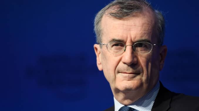 Governor of the Central Bank of France, François Villeroy de Galhau, looks on as he attends the World Economic Forum (WEF) annual meeting on January 26, 2018 in Davos.
