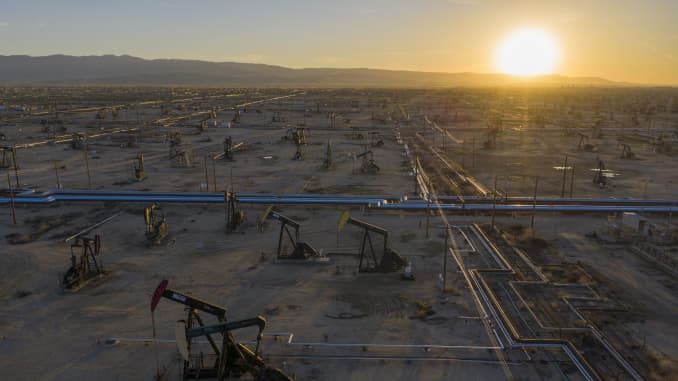 An aerial view shows pumpjacks in the South Belridge Oil Field on April 24, 2020 near McKittrick, California.