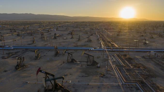An aerial view shows pumpjacks in the South Belridge Oil Field on April 24, 2020 near McKittrick, California.