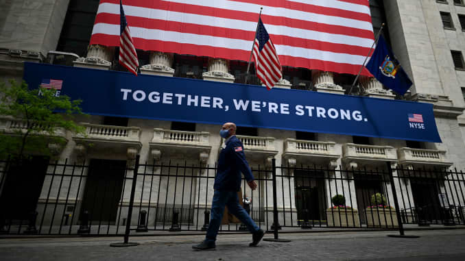 The New York Stock Exchange (NYSE) is pictures on May 26, 2020 at Wall Street in New York City.
