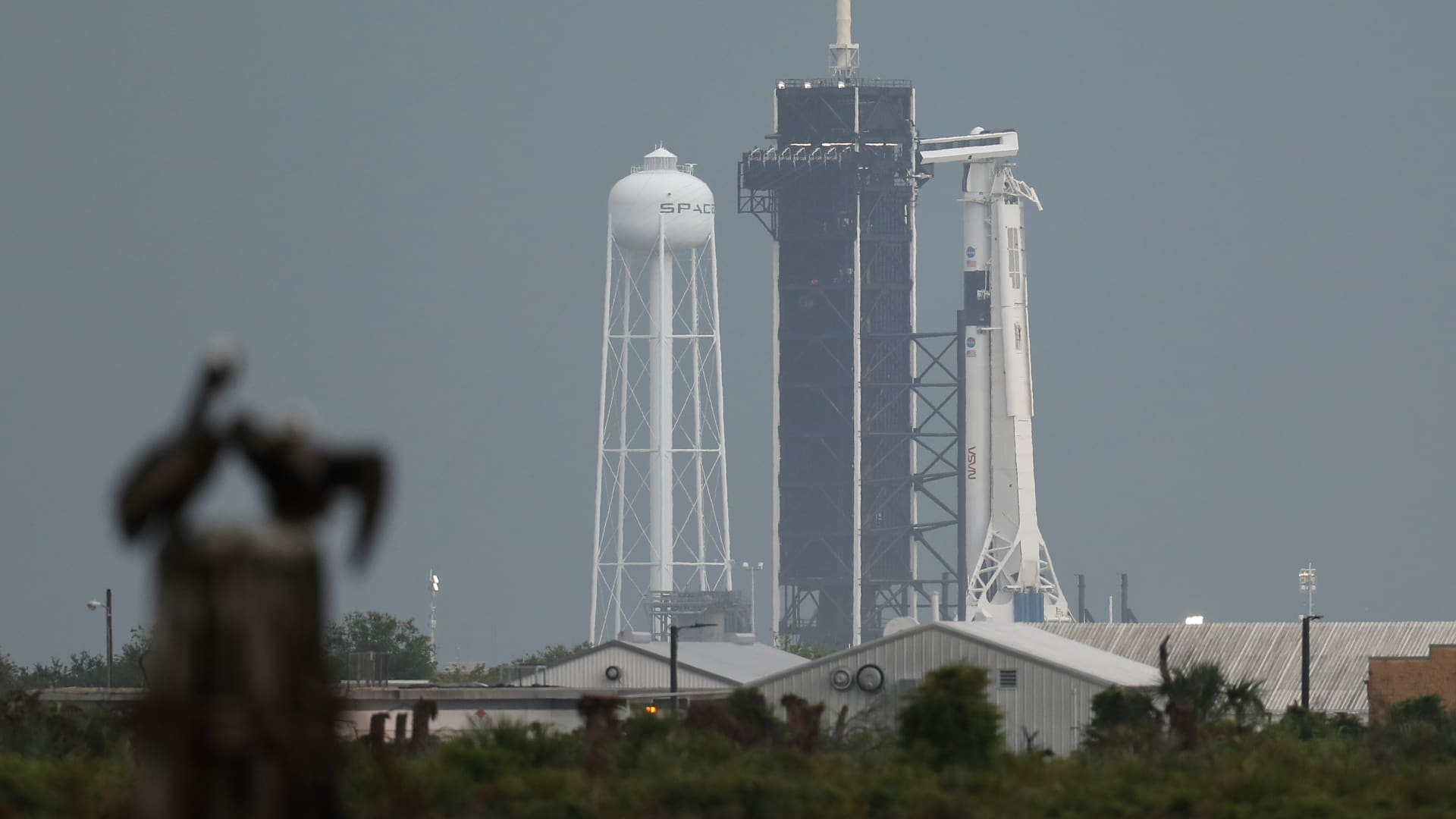 The SpaceX Falcon 9 rocket with the Crew Dragon spacecraft attached sits on launch pad 39A at the Kennedy Space Center on May 27, 2020 in Cape Canaveral, Florida.