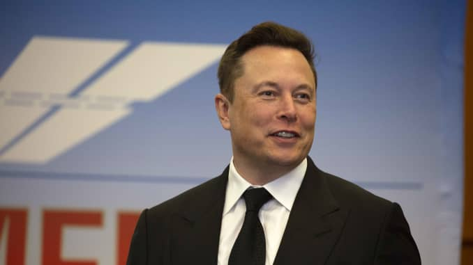 Elon Musk, founder and CEO of SpaceX, participates in a press conference at the Kennedy Space Center on May 27, 2020 in Cape Canaveral, Florida. NASA astronauts Bob Behnken and Doug Hurley were scheduled to be the first people since the end of the Space S