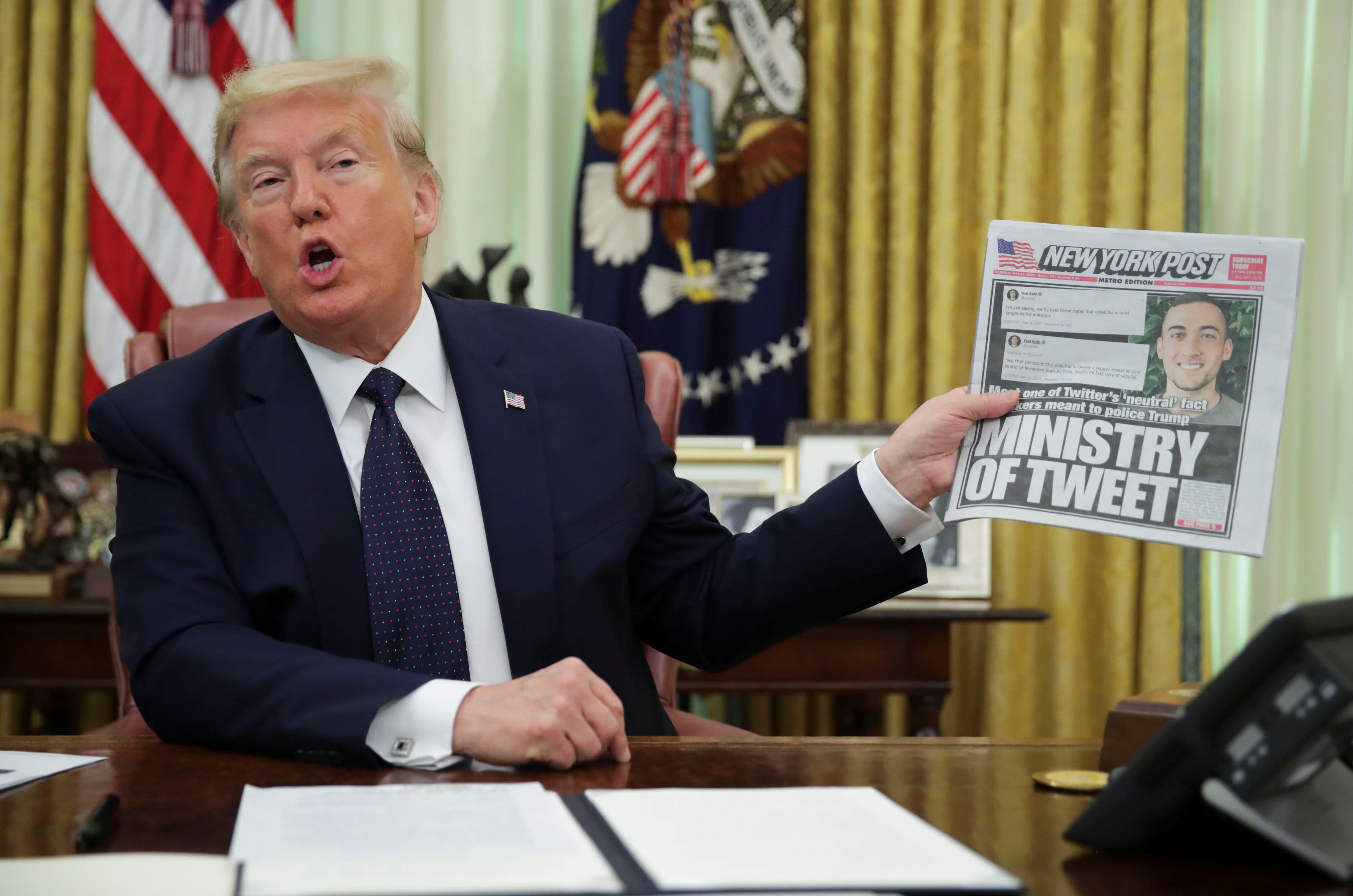 Image of article 'Trump targets social media companies with executive order after Twitter fact-checks his tweets'