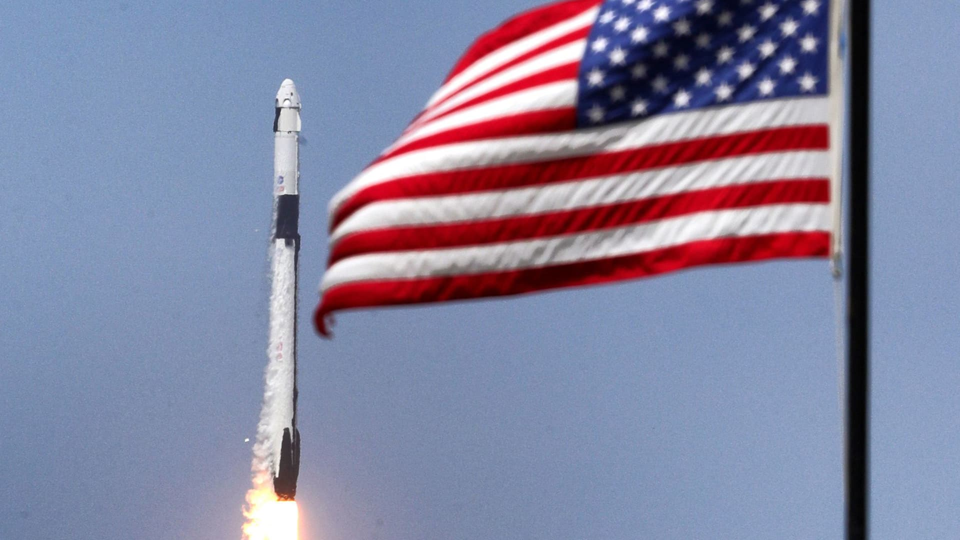 The SpaceX Falcon 9 rocket, carrying astronauts Doug Hurley and Bob Behnken in the Crew Dragon capsule, lifts off from Kennedy Space Center, Fla., on Saturday, May 30, 2020. The SpaceX Demo-2 mission is the first crewed launch of an orbital spaceflight from the U.S. in nearly a decade.