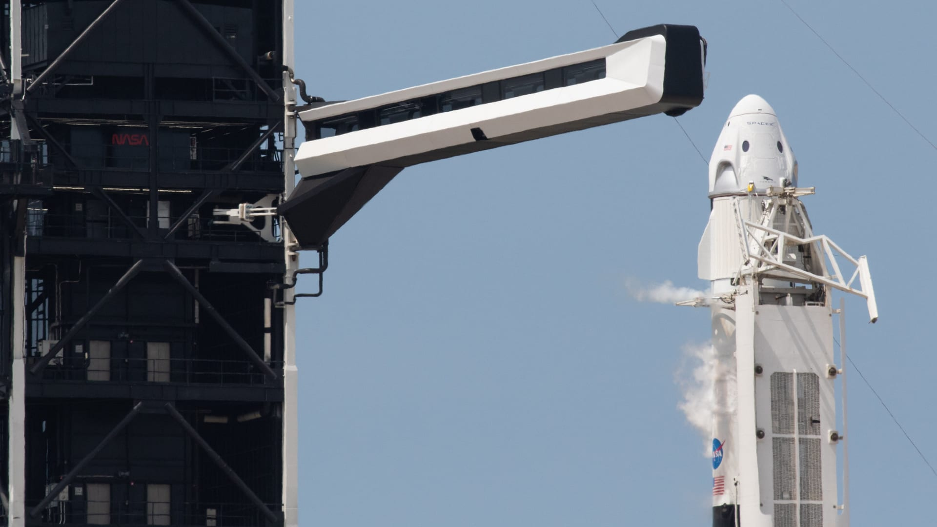 A SpaceX Falcon 9 rocket about to launch the company's Crew Dragon spacecraft is seen before the Demo-2 mission with NASA astronauts Robert Behnken and Douglas Hurley onboard.